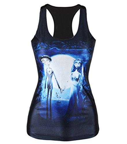 Amoluv Hot Fashion Women Corpse Bride Printed Sleeveless T Shirt Vest Tank Tops