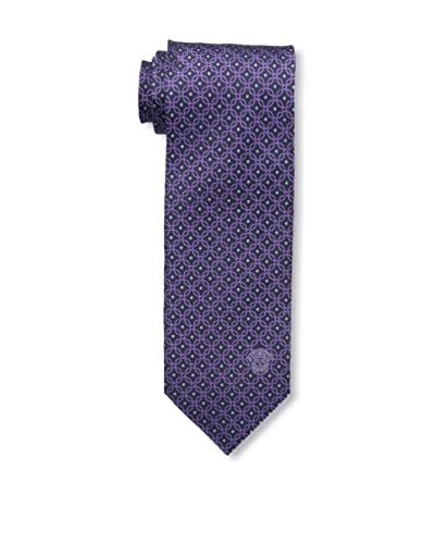 Versace Men's Geometric Woven Silk Tie, Purple