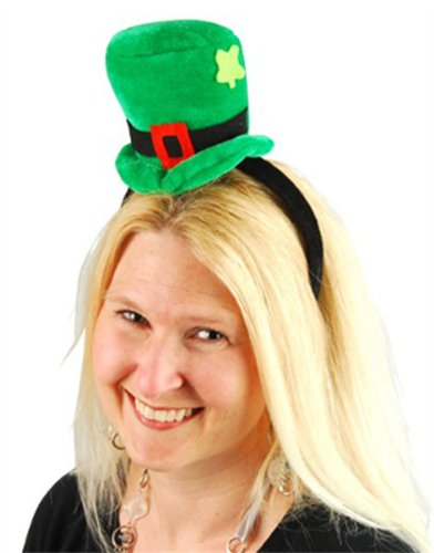 Green St. Patrick's Day Leprechaun Mini-Top Hat On Head Band - 1