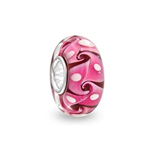 Bling Jewelry Sterling Silver Swirl Murano Pink Glass Bead Pandora Compatible
