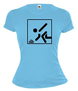Girlie T-Shirt Curling-Pictogram-M-Skyblue-Black
