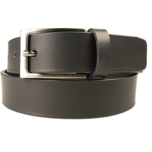 M, 34-38 Black - Gun Metal Finish Buckle - Mens Full Grain Leather Belt - Made in UK (BD-0028-30)