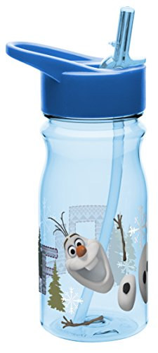 Zak! Designs Tritan Water Bottle with Flip-Up Spout and Straw with Olaf from Frozen, Break-resistant and BPA-free Plastic, 16.5 oz.