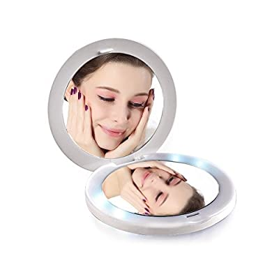 TOUCHBeauty TB-1275 Rechargable Mini Illuminated LED Cosmetic Mirror Compact Travel Mirror Double-sided 1x/2x Magnification