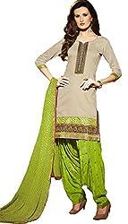 Leranath Fashion House Womens Pure Chanderi Material Cream, Green Dress (LE5-271SUN-2)
