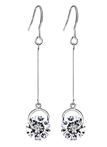 Neoglory Jewelry White Crystal Made with Swarovski Element Long Fish Hook Drop Earrings 2inch