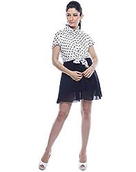 Designeez Black, White Polka Print Shift Dress