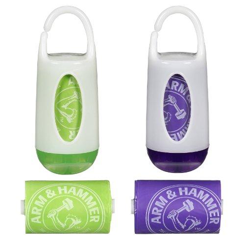 Munchkin Arm & Hammer Diaper Bag Dispenser And Bags 2 Pack - Green/Purple