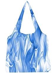 Snoogg White And Blue Smoke 2430 Womens Jhola Shape Tote Bag