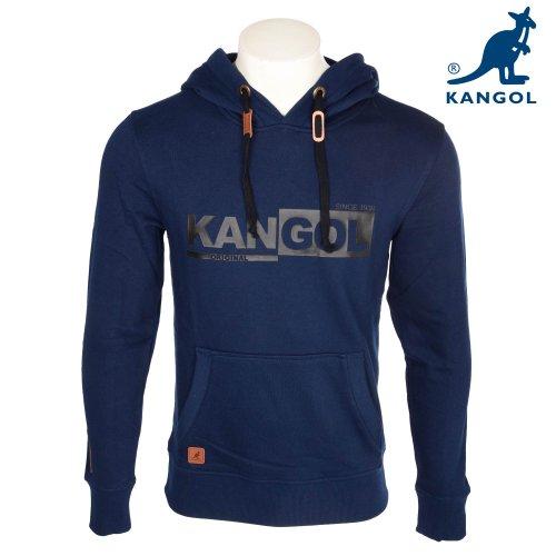 Kangol Men's Navy Branded Hooded Sweatshirt in Size Large