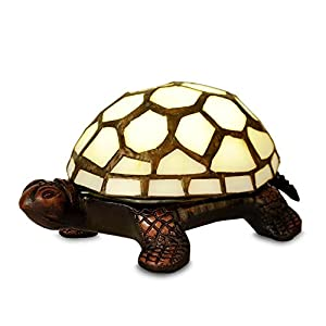 Tiffany Tortoise Battery Operated LED Bedside Table Lamp from MiniSun
