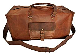 Purpledip Duffel Bag (100% Authentic Leather) - Robust Square Format for Travel, Sports, Gym or Outdoors in Vintage Brown Finish (lbag09)
