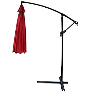 PayLessHere Patio Umbrella Offset 10' Hanging Umbrella Outdoor Market Umbrella Red from PayLessHere