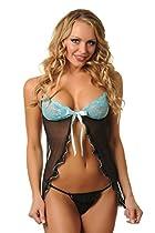 Velvet Kitten Sexy Azure Frill Flyaway Babydoll Lingerie Set - One Size - 3097