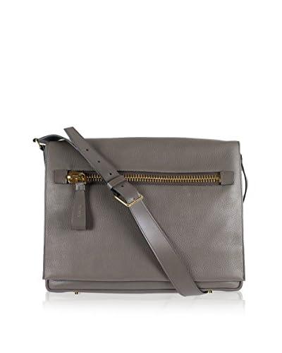 Tom Ford Men's Medium Pebbled Leather Messenger Bag, Slate Gray
