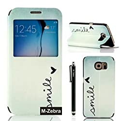 Galaxy S6 Case,S6 Case,M-Zebra Brand New Fashion Premium PU Flip Leather Window View Design Display Caller ID Time Table Case Cover For Samsung Galaxy S6,with Screen Protectors+Stylus+Cleaning Cloth (Blue)