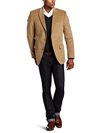 Tommy Hilfiger Men's Trim Fit Corduroy Sport Coat, Khaki, 36 Short at