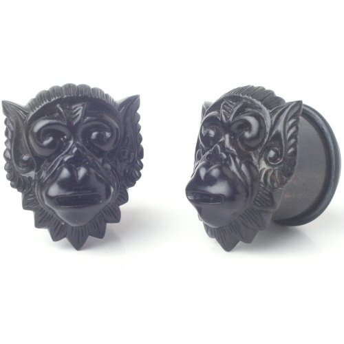 Pair of Black Dogwood Hanoman Single Flared Plugs: 2g