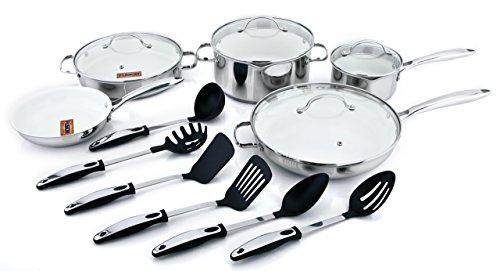 Kevin Dundon SKD15SMW Signature 15-Piece Cookware Set, Marshmallow