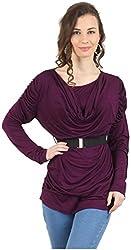 MANKA Women's Long Sleeve Top (MK-542PU_S, Purple, Small)