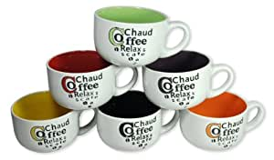 Francois et Mimi 14-Ounce Colored Ceramic Coffee/Soup Mugs, Large, Cafe Europa, Set of 6