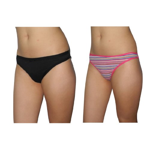 2 PACK: Womens Sexy Hipster Briefs Underwear Thong Panties / Knickers