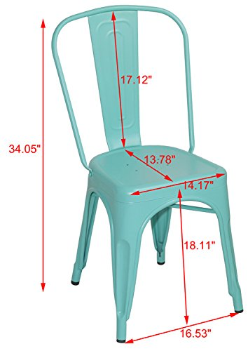Merax Solid Metal Bar Dining Chairs Steel Back Chairs, Antique Blue, Set of 4 4