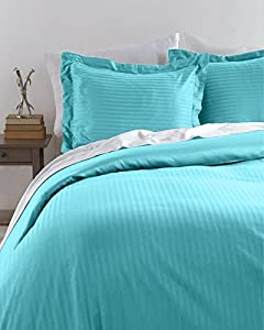 HLC.ME Venice Hotel Ultra-Soft Woven Stripe Duvet Set (Full/Queen, Aqua Blue)