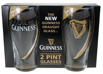 Guinness - Set di 2 bicchieri, decorazione: arpa