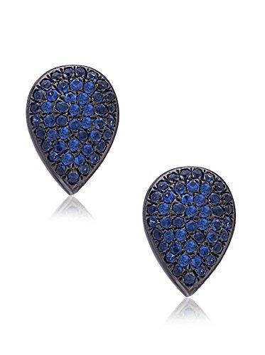 Socheec Sweet Pear-Shaped Blue Sapphire Stud Earrings
