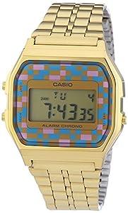 Casio - Vintage - A159WGEA-4AEF - Montre Homme - Quartz Digital - Cadran Multicolore - Bracelet Acier Doré