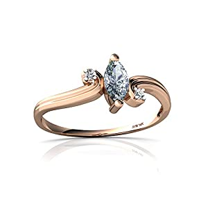 14kt Rose Gold Aquamarine and Diamond Marquise Ocean Waves Ring - Size 4