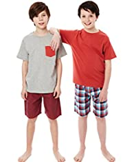 2 Pack Autograph Cotton Rich Checked Short Pyjamas