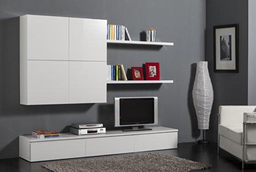 Soggiorno componibile completo e moderno laccato bianco