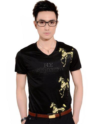 Sslr Men'S Summer Casual V Neck Short Sleeve T Shirts Color Black Size S