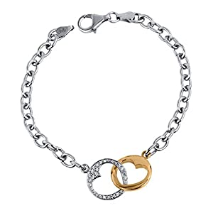 Interlocking Heart Link Bracelet in Sterling Silver with Yellow Gold Plate