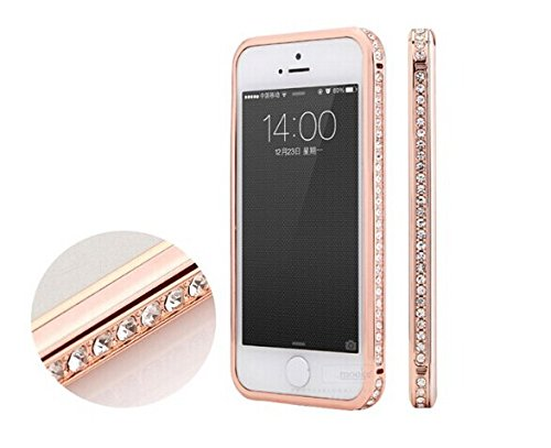 Hashex Pink Diamond Crystal Bling Aluminum Metal Bumper Hard Gold Case Cover For Iphone 5 5S