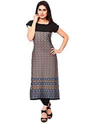 AHALYAA Multi Colored Half Sleeve And Boat Neck Faux Crepe Kurti