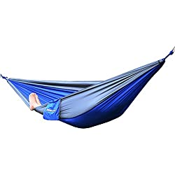 WoneNice Light Weight Outdoor Travel Camping Multifunctional Hammocks with Hanging Rope and Carabiners (Blue/Grey)