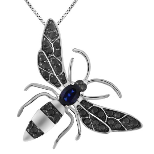 Sterling Silver Amethyst, Smokey Quartz, Created Ceylon Sapphire Honey Bee Pendant Necklace, 18