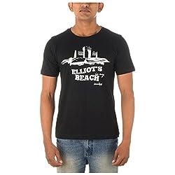 Chennai Gaga Men's Round Neck Cotton T-shirt Elliots Beach 112-3-824-Black-XXL
