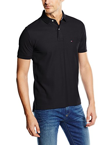Tommy Hilfiger 867878433060-Polo Uomo    Nero (New Black) Large