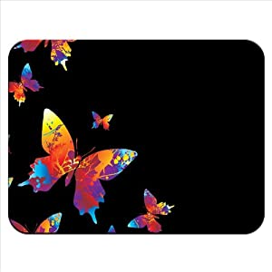 Rainbow Splash Coloured Butterflies Premium Quality Thick Rubber Mouse Mat Pad Soft Comfort Feel Finish