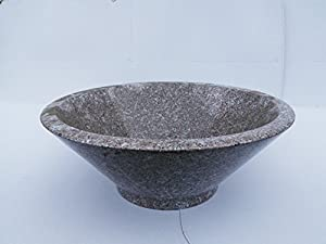 Light grey beige cone shaped granite vessel sink for Light grey granite sink