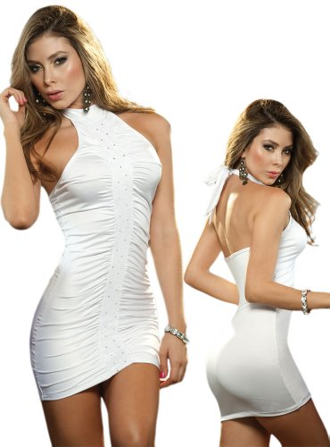 Sexy White Halter Club Wear Mini Dress - Large