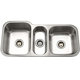 Houzer MGT-4120-1 Medallion 39-13/16-by-20-3/16-Inch Triple Bowl Undermount Stainless Steel Kitchen Sink