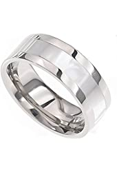 8mm Mother-of-Pearl Inlay Pip Cut Titanium Shiny Band Men Wedding Ring Size 9-13 Full and Half Size SPJ