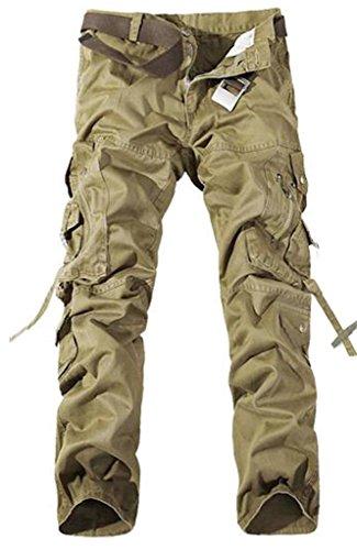 Jeansian Moda Pantaloni Casual Uomo Slim Cargo Pant J201 Khaki W32