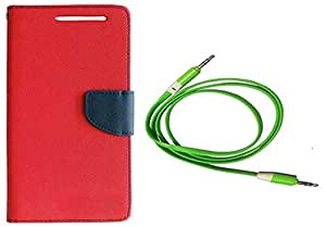 Novo Style Wallet Case Cover For Samsung Galaxy S DousS7562 Red + 3 feet Slim 3.5mm Music Record Stereo Audio Auxiliary AUX Cable Cord