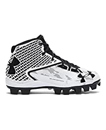 Under Armour Boys\' UA Deception Mid RM Jr. Baseball Cleats 2 White